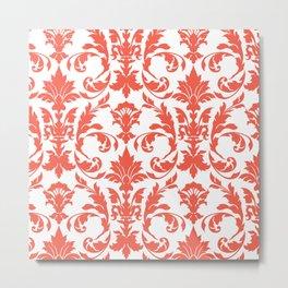 damask coral Metal Print