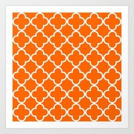 Bright Orange and White Large Simple Quatrefoil Art Print