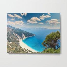 The famous beach Myrtos in Kefalonia island, Greece Metal Print