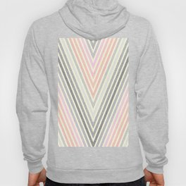 Living Coral Peach Pink Gray Pixel Stripes Hoody