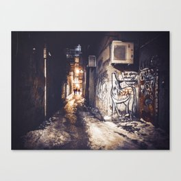 Lower East Side - Midnight Warmth on a Snowy Night Canvas Print