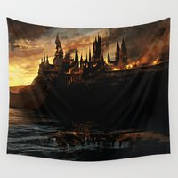 slytherin Wall Tapestries featuring Harry Potter - Hogwart's Burning by Juniper Vinetree