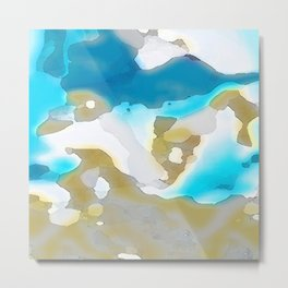 Blue and Gold Watercolor Metal Print