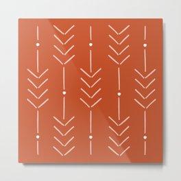 Arrow Lines Pattern in Terracotta Rose Gold 3 Metal Print