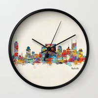 tennessee Wall Clocks featuring music city tennessee skyline by bri.buckley