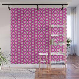 Hot Pink Plaid Mint Green Flower Wall Mural