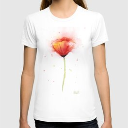 Red Poppy Flower Watercolor Abstract Poppies Floral T-shirt