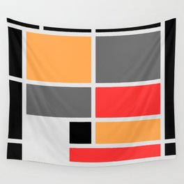 Mondrianista orange red black and gray Wall Tapestry