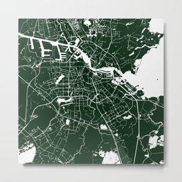 Amsterdam Green on White Street Map Metal Print