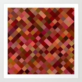 Autumn Colored Squares Orange Art Print