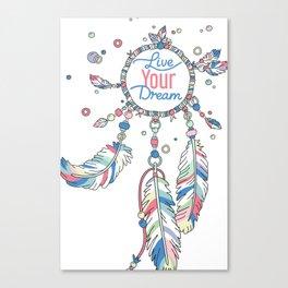 Live Your Dream Dream Catcher - Pastel Colors Canvas Print