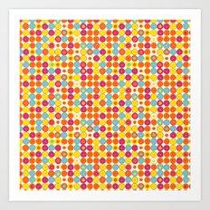 Funny Polkas-Yellow and orange Art Print