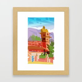 The tourist takes a picture Framed Art Print