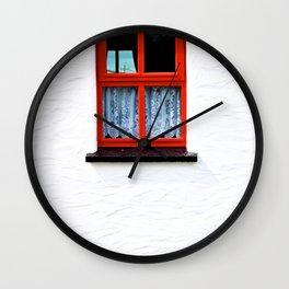 Red Window Wall Clock