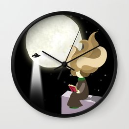 Hila and the moon Wall Clock