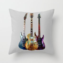 Sounds of music.Three Guitars. Throw Pillow
