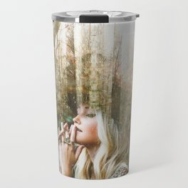 Woman In Forest Travel Mug