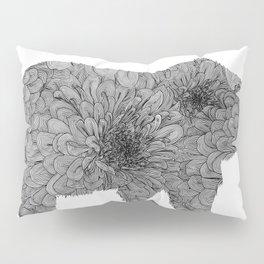 Floral Line Work Bear in Black Pillow Sham