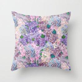 Purple and blue Lilac & Hydrangea - Flower Design Throw Pillow