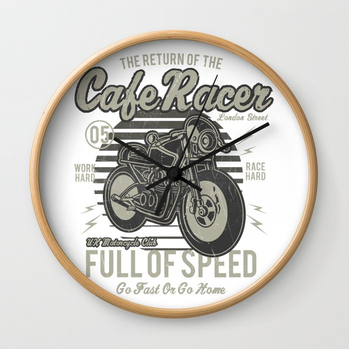 Caferacer Motorcycle Vintage Poster Wall Clock