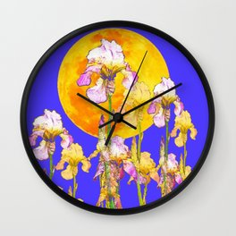 IRIS GARDEN & RISING GOLD MOON  DESIGN ART Wall Clock