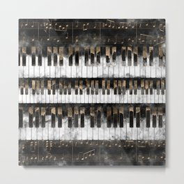 Piano keys and Notes - Watercolor and gold Metal Print