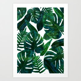 Tropical Nature Monstera Watercolor Painting, Botanical Jungle Dark Palm Illustration Kunstdrucke