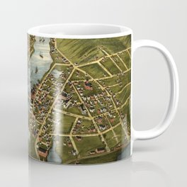 Vintage Mystic CT River & Bridge Map (1879) Coffee Mug