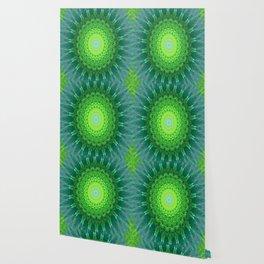 Glowing Green Ribbon Kaleidoscope Wallpaper