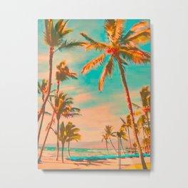 Vintage Hawaiian Beach, Mauna Lani Bay Teal Metal Print