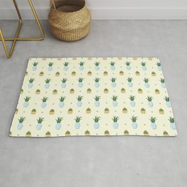 Pastel yellow brown green cactus floral dots summer pattern Rug