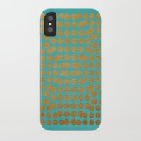 gold dots iPhone & iPod Cases featuring Gold Dots on Turquoise by Sandra Arduini