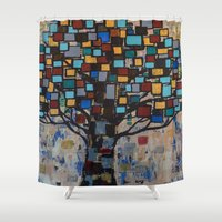 levi Shower Curtains featuring :: Stained Glass Tree :: by :: GaleStorm Artworks ::