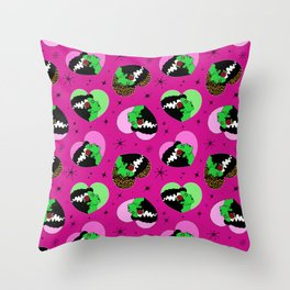Bride of Frankie Hearts in Lipstick Pink Throw Pillow
