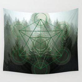 Pine Tree Sacred Geometry Wall Tapestry