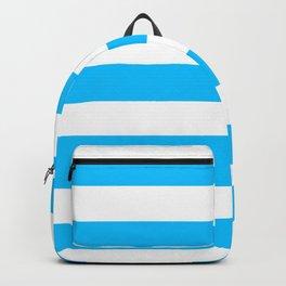 Deep sky blue - solid color - white stripes pattern Backpack