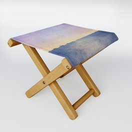 Watercolour Sunset Textural Abstract Painting Folding Stool