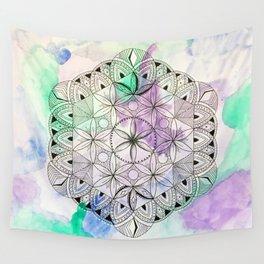 Pastel Mandala/Crystal Grid, Sacred Geometry Wall Tapestry