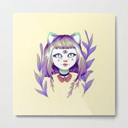 Dark Rainbow Cat Lady Metal Print