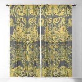 Yellow swirls art Sheer Curtain