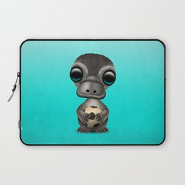 Cute Baby Platypus With Football Soccer Ball Laptop Sleeve