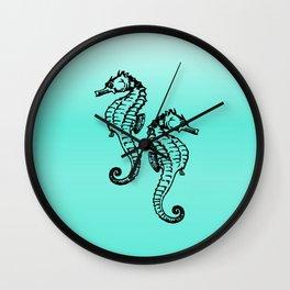 Aqua Seahorse Design Wall Clock