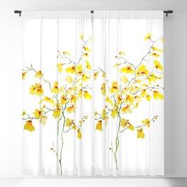 yellow Oncidium Orchid watercolor Blackout Curtain