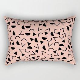 Memphis 80's Design Black and Pink Rectangular Pillow