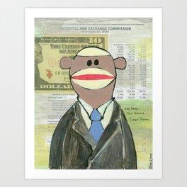 Sock Monkey 129: The Bean Counter Art Print