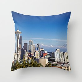 Seattle Overlook with Mt Rainier Throw Pillow