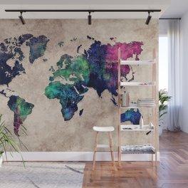 World map watercolor 1 Wall Mural