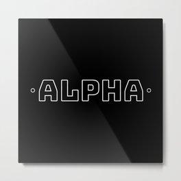 Alpha (White on Black) Metal Print