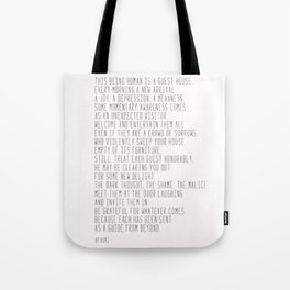 The Guest House #poem #inspirational Tote Bag