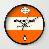 kerouac Wall Clocks featuring Penguin Book / On The Road - Jack Kerouac  by FunnyFaceArt